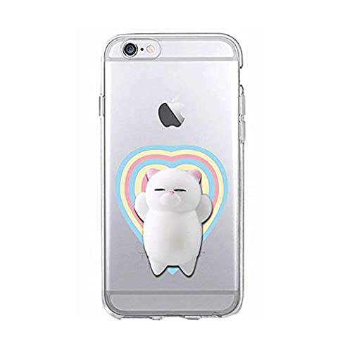 Squishy 3D Animal Cat Chat iPhone 5s Coque, Cute Stress Silicone Fun Case for iPhone 5s / iPhone 5 (Color-D)