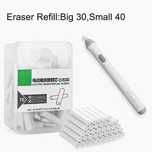 Gomma elettrica per cancellare fine, 40 pezzi, 30 pezzi grandi, gomme di ricambio, funzionamento a batteria, facile e comoda da cancellare, gomma da 2,5 mm/5 mm
