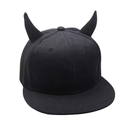 Yosrab Horns Cap Männer Frauen Baseball Cap Krempe Straight Black Snapback Hut Mit Ohren Mädchen Jungen Weiblich Laufen Hip Hop Dreirad - Laufen Mädchen Hut