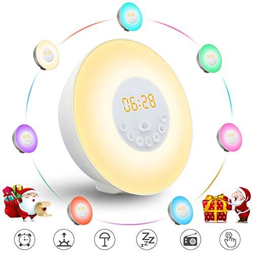 Lichtwecker GLIME Wecker LED Wake up Light Wecker Licht Bunte Nachtlicht FM Radio Berühren Sonnenaufgang Sonnenuntergang 6 Sounds 10 Helligkeit Snooze Mode USB Kinder Zimmer