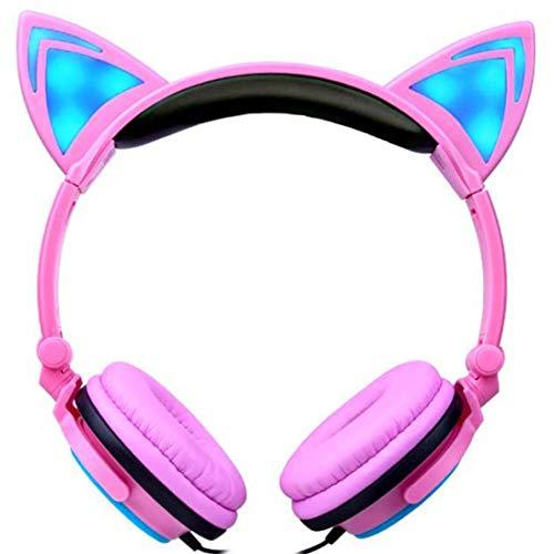 Verdrahtete Katzen Ohr LED Kopfhörer, Faltbare Mädchen Musik Beleuchtet über Ohr Kopfhörer, Qualitäts Ton mit Mic/Weichem Kissen Ohr Auflage für Kinder, für Laptop / MP3 (D) - Cd-player Cute
