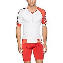 Compressport - Camiseta de triatlón, color blanco / rojo, talla M