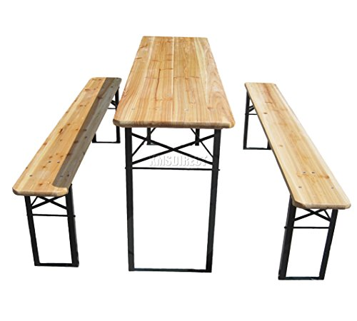 WestWood Outdoor Wood Wooden Vintage Folding Beer Table Bench Set Trestle Party Picnic Pub Garden Furniture Steel Leg