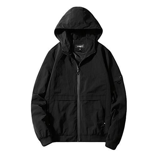 Preisvergleich Produktbild Amphia - Frühjahrs- und Herbstjacke für Herren - Männer Frühling Herbst Mode lässig Stil mit Kapuze Reine Farbe Sport Jacke Mantel(Schwarz, XL)