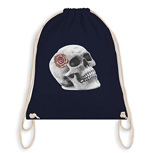 Shirtracer Rockabilly - Totenkopf Rose Vintage Skull - Unisize - Navy Blau - WM110 - Turnbeutel &...