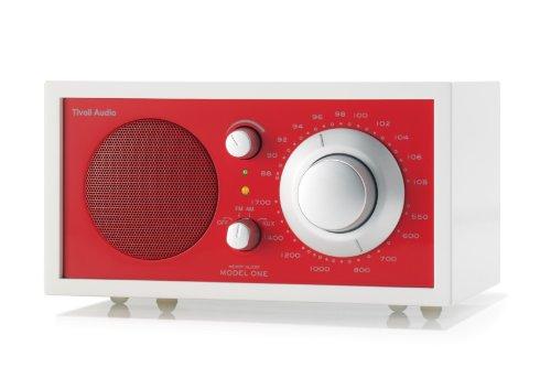 Tivoli Audio Model One M1FWER Radio da Tavolo, Bianco Ghiaccio/Rosso