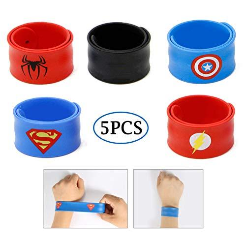 RioRand Slap Armbänder Superheld Birthday Party Supplies Toys Kostüm Slap Bands für Kinder Jungen Mädchen (5pcs Slap ()