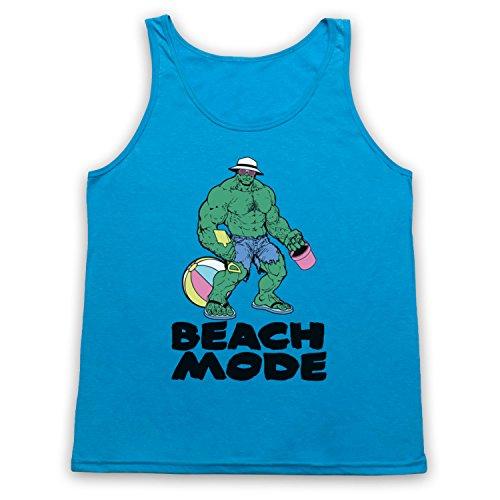 Beach Mode Gym Workout Slogan Tank-Top Weste Neon Blau