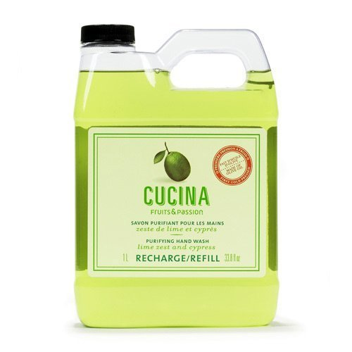 Cucina Lime Zest and Cypress 33.8 oz Purifying Hand Wash Refill by Fruits & Passion [Beauty] (English Manual)