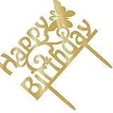 Lorsoul Happy Birthday Cake Topper Acrilico Oro Scintillio Fai da Te Glitter Torta del bigné Smash Candela del Partito Fatto a Mano Stick - Modello A