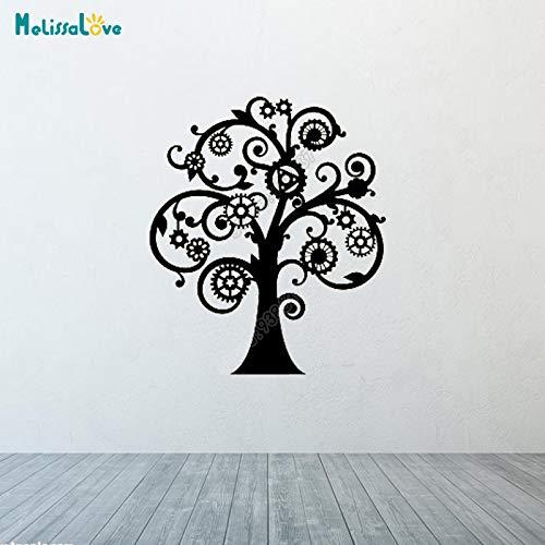 yaoxingfu Steampunk Tree Gears Büro Teamarbeit Aufkleber Creative Design Decor Sticker Company Abnehmbare VinylWandaufkleber 57x67cm