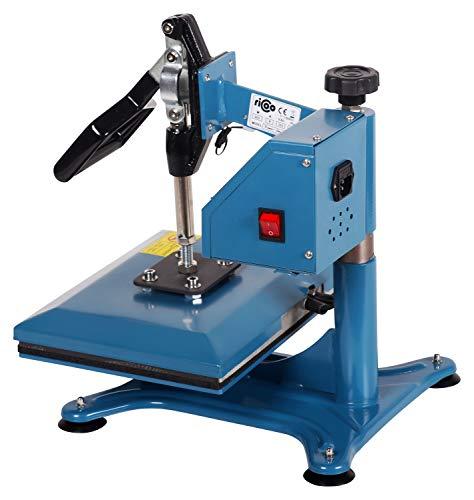 RICOO Transferpresse Textilpresse Power Zwerg-GS Textildruckpresse Schwenkbar Thermopresse Transferdruck Bügelpresse Textil T-Shirtpresse Sublimationspresse Flexfolie und Flockfolie Azur Blau - 5