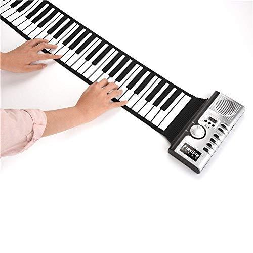Roll Up Piano, Tragbare 61 Tasten Wiederaufladbare Elektronische Musikinstrument Handrolle Klavier, Umwelt Silikon Tastatur Horn Kind Erwachsenes Spielzeug (61 Tasten),Silver