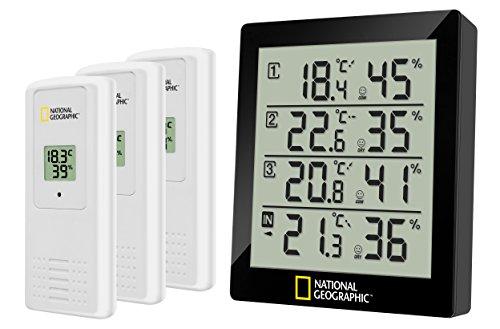 National Geographic 4-Fach Thermo-/Hygrometer Wetterstation, schwarz
