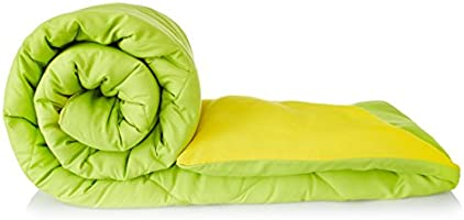 Solimo Microfibre Reversible Comforter, Double (Olive Green & Cheery Yellow, 200 GSM)