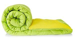 Amazon Brand - Solimo Microfibre Reversible Comforter, Double (Olive Green & Cheery Yellow, 200 GSM)