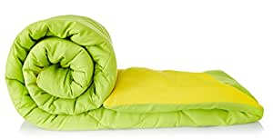 Amazon Brand - Solimo Microfibre Reversible Comforter, Single (Olive Green & Cheery Yellow, 200 GSM)