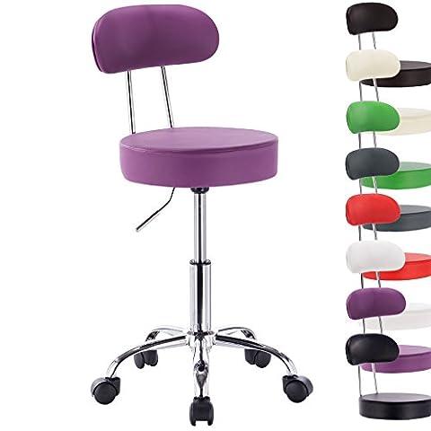Woltu Faux Leather Gas Lift Swivel Chair Stool Purple Swivel