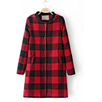 GS~LY Cappotto / lunga sezione di femmina cappotto a quadri selvaggio / lana e cotone giacca calda , red , l