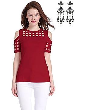 MODETREND Mujer Camisetas Camisa de Hombro Manga Corta Blusas de Hueco Tops T-Shirts Verano