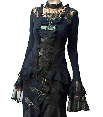 Dark Dreams Steampunk Gothic Buckles Lace & Buckle Top, ()