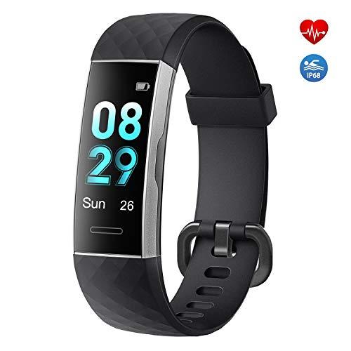 moreFit Fitness Tracker,Fitness Armband mit Pulsmesser IP68 Wasserdicht Sportuhr Aktivitätstracker Schlafmonitor Schrittzähler Uhr für Herren Damen mit Vibrationsalarm Anruf SMS Whatsapp (Schwarz)