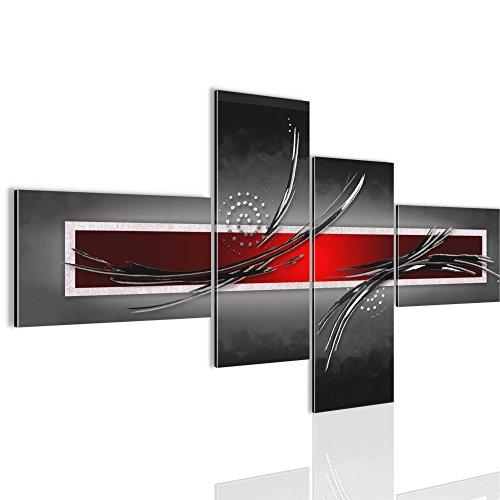 Bilder Abstrakt Wandbild 160 x 80 cm Vlies - Leinwand Bild XXL Format Wandbilder Wohnzimmer Wohnung Deko Kunstdrucke Rot Grau 4 Teilig - MADE IN GERMANY - Fertig zum Aufhängen 102545a