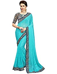 Glory Sarees Women's Chiffon Saree(vn36_blue)