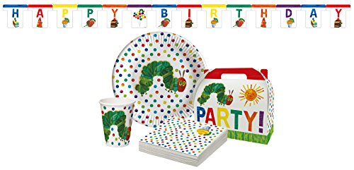 Raupe Nimmersatt Partypaket 31teilig 31-Teiliges, Pappe/Papier, Bunt, 30,3 x 22,5 x 8,3 - Happy Birthday 31