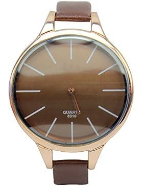 Unisex PU Leder Armband Analog Quarz Uhr Quarzuhr mit dünn Band Geschenk Elegant