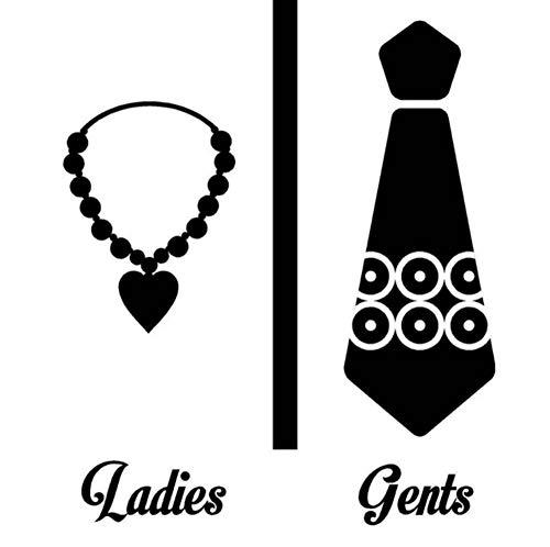 YCYLYZ Kreative Waschraum Tür Aufkleber Halskette Damen Krawatte Ständer Herren Symbol Wc Tür Dekor Badezimmer Aufkleber Männlich Weiblich Decor, 28X33 cm -