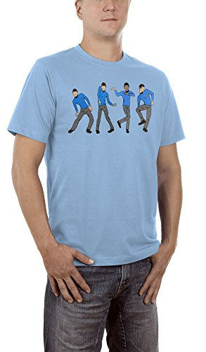 Touchlines Dancing Spock, T-Shirt Uomo, Skyblue 15, X-Large