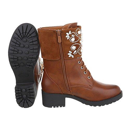 Schnürstiefeletten Damenschuhe Klassischer Stiefel Blockabsatz Schnürer Reißverschluss Ital-Design Stiefeletten Camel