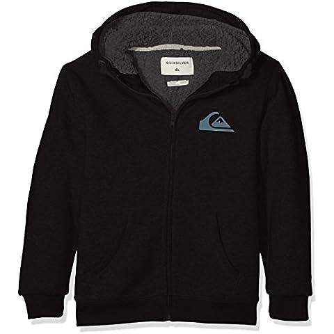Quiksilver Best Wave Sherpa Youth - Sudadera con capucha y cremallera para niño, color negro, talla