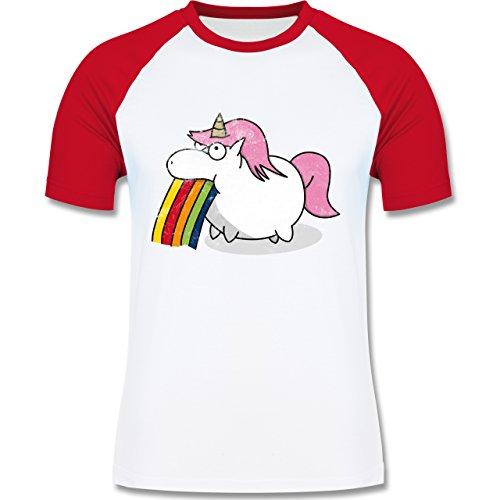 Shirtracer Einhörner - Kotzendes Einhorn Vintage - Herren Baseball Shirt Weiß/Rot