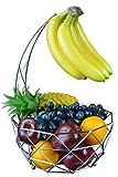 Roselife bananenhalter,metall obstkorb,Obstkorb,faltkorb,bananaen stander,Obst Aufbewahrung silber Schüssel, Rose Gold, Silber, Chrom Finish 28.5x 28.5 x 43 cm silber