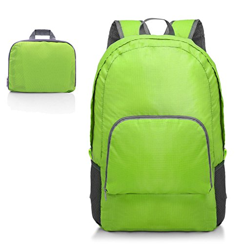 Kitdine Mochila Ultraligera Plegable Duradera Perfecta para Viajes Montañismo Mochila Compacta Carga de 20L (Verde)