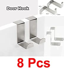 Lifestyle-You™ Stainless Steel Door Hook(8 Pcs) for Bathroom Home Office hanger cloth bags