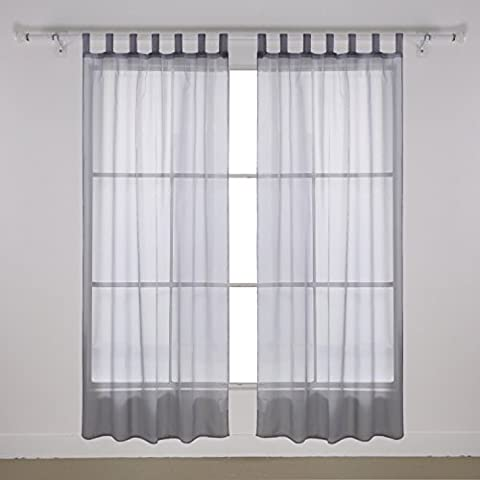 Deconovo Gardinen Transparent Gardinen Schlaufen Voile Vorhang175×140 cm Grau 2er set