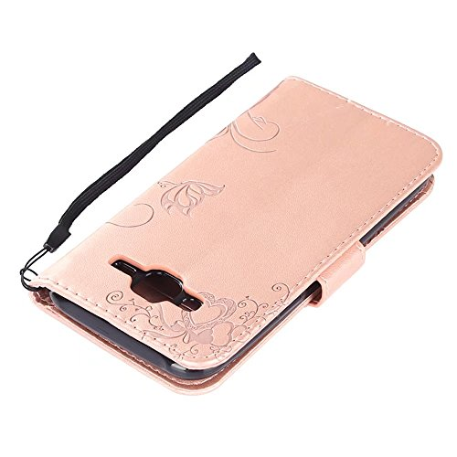 Horizontale Bookstyle Flip Case Premium PU Ledertasche, Solid Color Embossed Blumen Schutzhülle Tasche Tasche mit Lanyard & Stand für Samsung Galaxy J5 ( Color : Red ) Rose gold