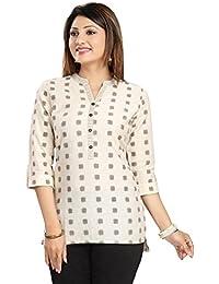 Color Petal Cream Colour Cotton Short Kurti Tunic Top For Women