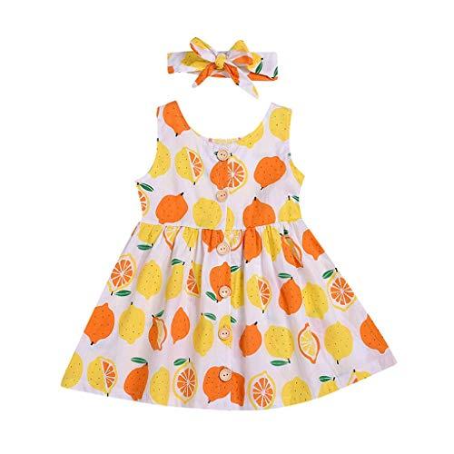 mit Obst Lemon Bedruckte, KIMODO Kleinkind Ärmellos Urlaub Sommer Strandkleid Party Prinzessin Kleidung Outfit + Stirnband Set ()