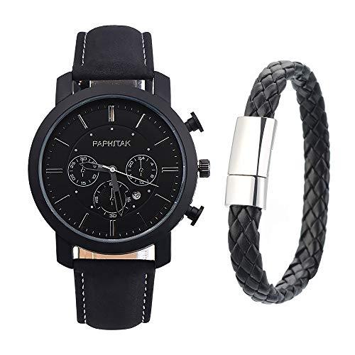 Souarts Herren Armbanduhr Männer Jungen Einfach Stil Sport Analoge Quarz Uhr mit Armbanduhr Geschenk Set