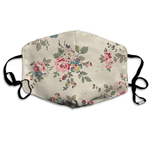 Staubdichte Gesichtsmaske für Jungen und Mädchen, Anti-Allergien, Ohrschlaufe, halbe Gesichtsmaske Mundmuffle Reinigung, winddicht, Polyester-Maske, verstellbares Band, bunte Blumen