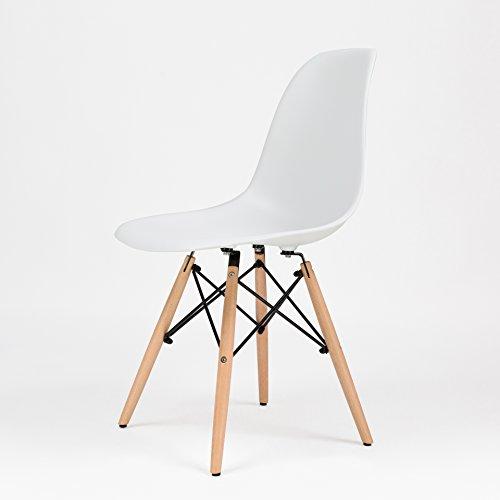 OCHS High Quality Eames Inspired Eiffel Retro DSW Plastic Dining Office Lounge Chair Panton Designer Chair (White, PP)