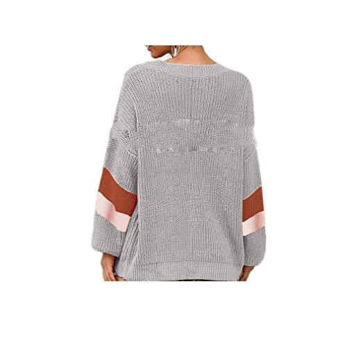 Womens V-neck Argyle Pullover (CuteRose Womens Blouse V Neck Fall Winter Jersey Baggy Pullover Knitwear Dark Grey XS)