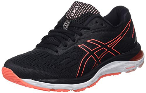 Asics Women's Gel-Cumulus 20 Running Shoes, Black (Black/Flash Coral 002), 6.5 UK (40 EU)