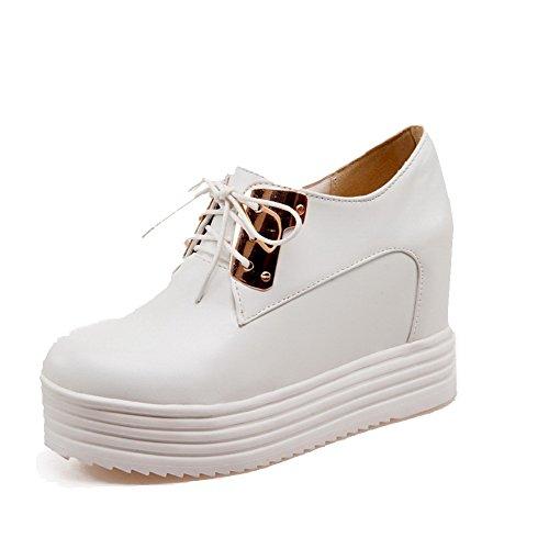 AllhqFashion Femme Rond Lacet Pu Cuir Couleur Unie Chaussures Légeres Blanc