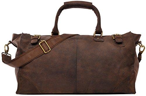 LEABAGS Durham sac de voyage rétro-vintage en véritable cuir de buffle - Noix de muscade NNED8hln9