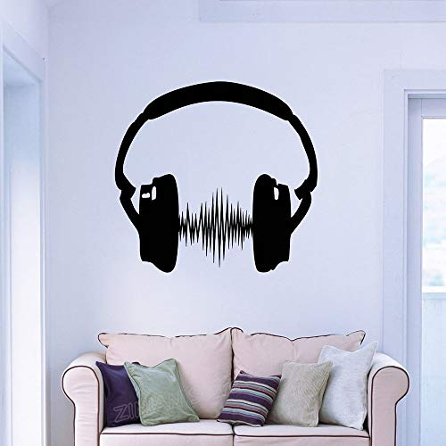 guijiumai Cuffie Adesivo Art Stickers Camera da Letto Modern Home Interior Decor Decalcomanie Sound Music Decorazione del Partito Carta da Parati Nera 59x56 cm